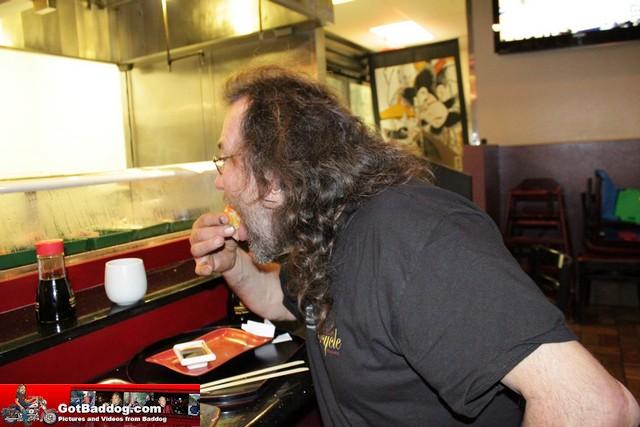 Roland enjoying rice ball hella spice